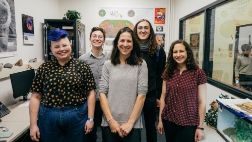 The Planetary Surfaces Computing Lab. Back row, from left: Melanie Kanine '20 and Audrey Putnam, Guarini '20. Front row:  Torie Roseborough, Guarini '23, Assistant Professor Maria Palucis, and post-doctoral researcher Frances Rivera-Hernandez.