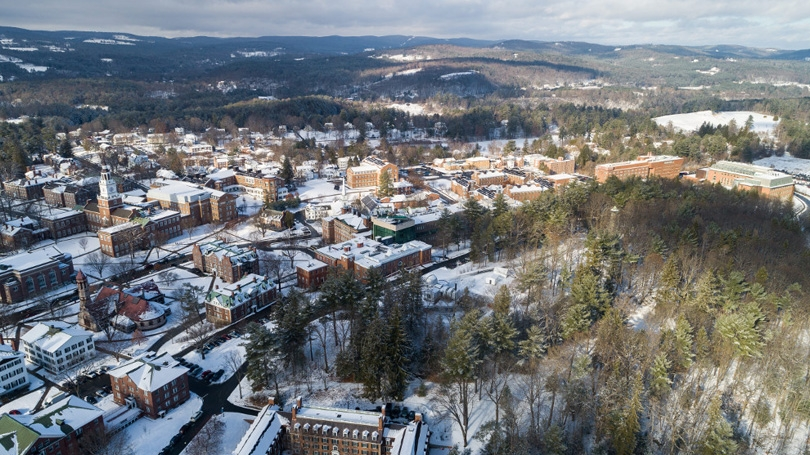 Aerial campus view with snow covering the ground